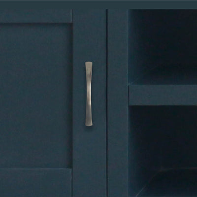 close up of the vertical metal door handle on the Chatsworth Blue Large 150 cm TV Stand from Roseland Furniture