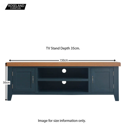 Dimensions for the Chatsworth Blue Large 150 cm TV Stand from Roseland Furniture