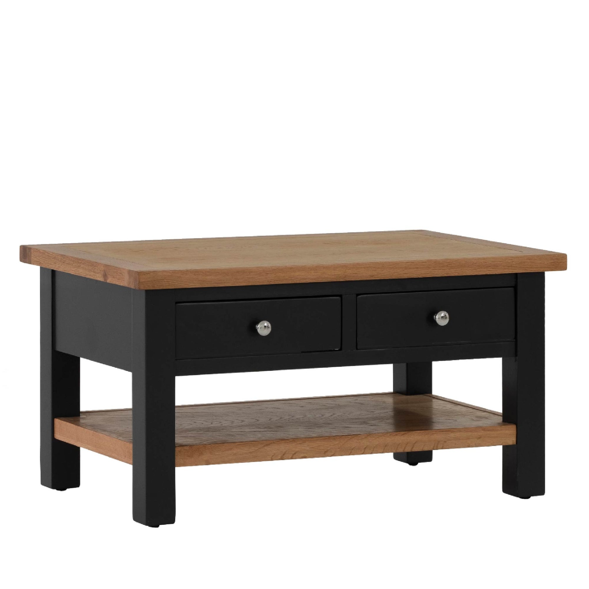 Charlestown Black Coffee Table with 2 Drawers by Roseland Furniture