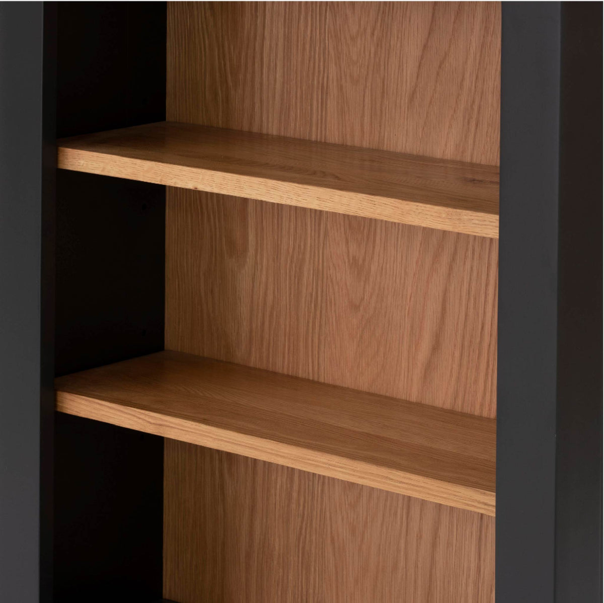 Charlestown Black Low Bookcase - Shelf Close Up