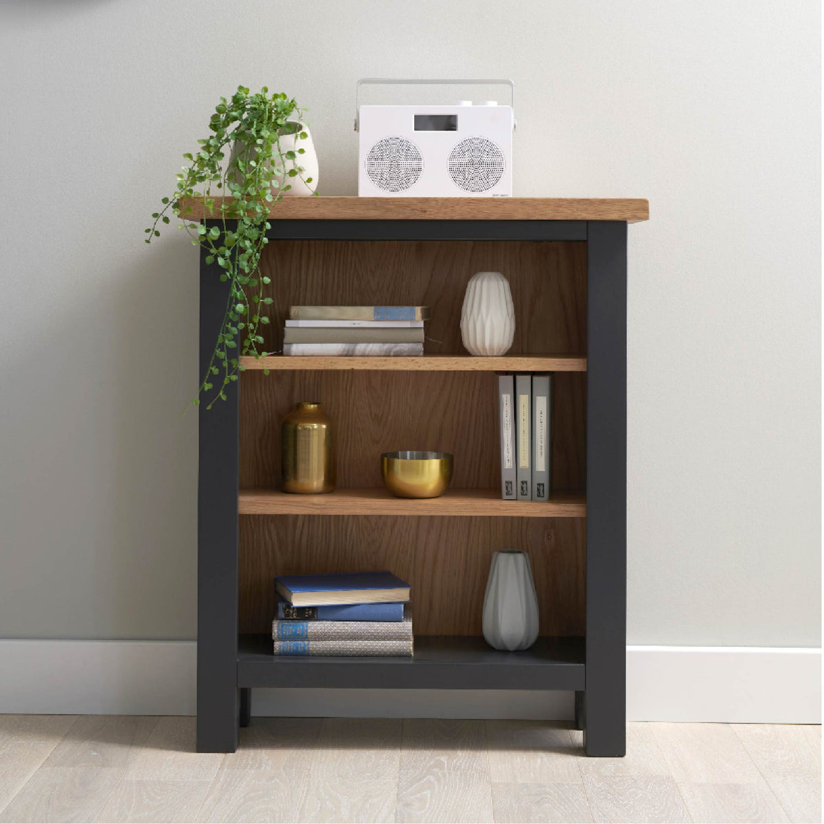 Charlestown Black Low Bookcase - Lifestyle View