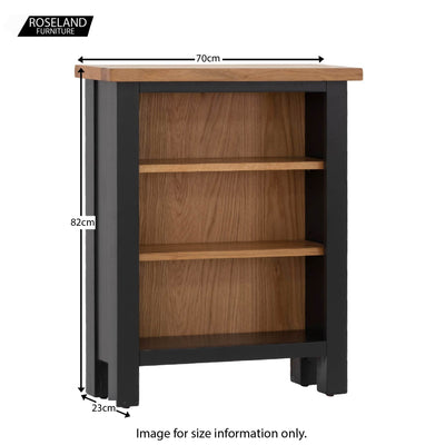 Charlestown Black Low Bookcase - Size Guide