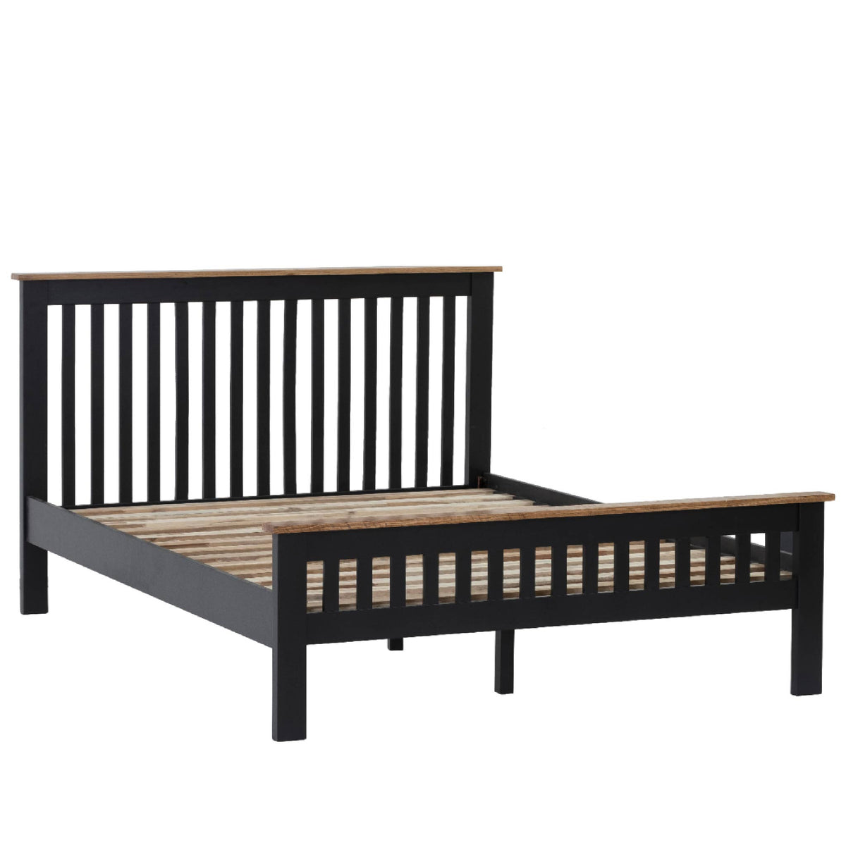 Charlestown Black Solid Wood Double Bed Frame by Roseland Furniture