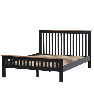 Charlestown Black Solid Wood Double Bed Frame - Angled View