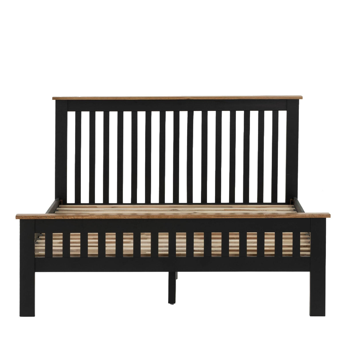 Charlestown Black Solid Wood Double Bed Frame - Front View