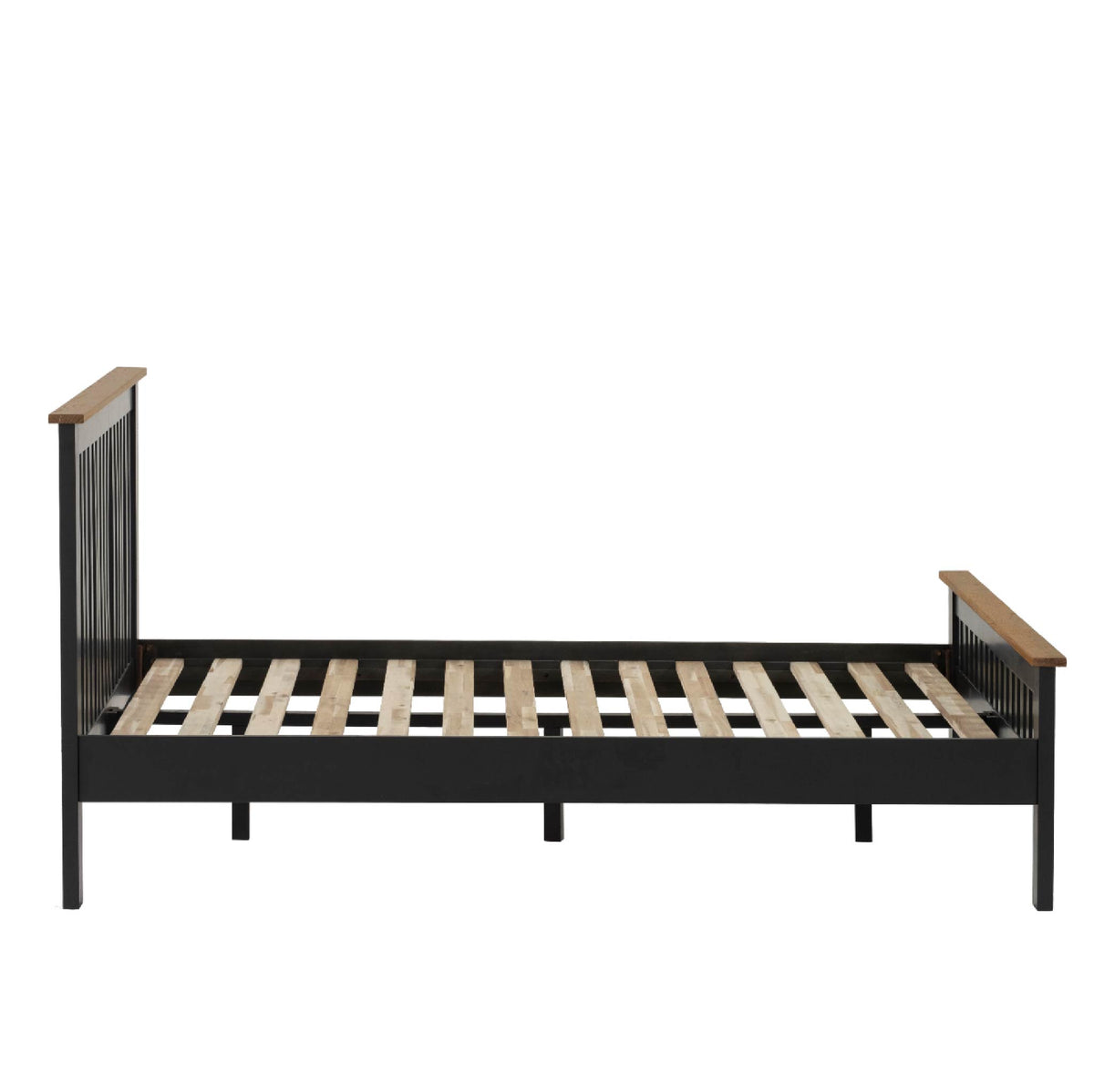 Charlestown Black Solid Wood Double Bed Frame - Side View