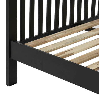 Charlestown Black Solid Wood Double Bed Frame - View of Slats