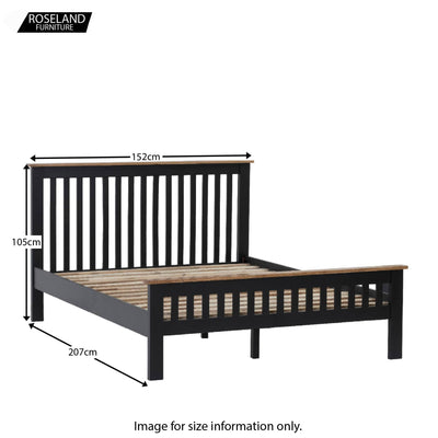 Charlestown Black Solid Wood Double Bed Frame - Size Guide