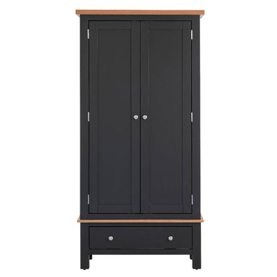 Charlestown Black Double Wardrobe with Drawer - Front View