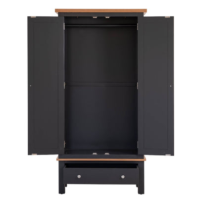 Charlestown Black Double Wardrobe with Drawer - With Drawer and Doors Open