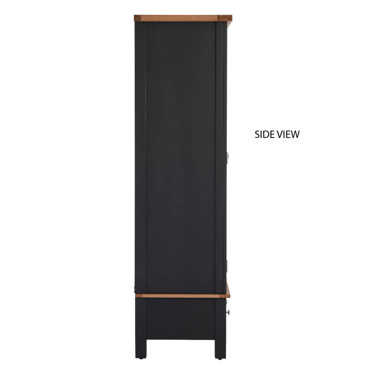 Charlestown Black Double Wardrobe with Drawer - Side On View