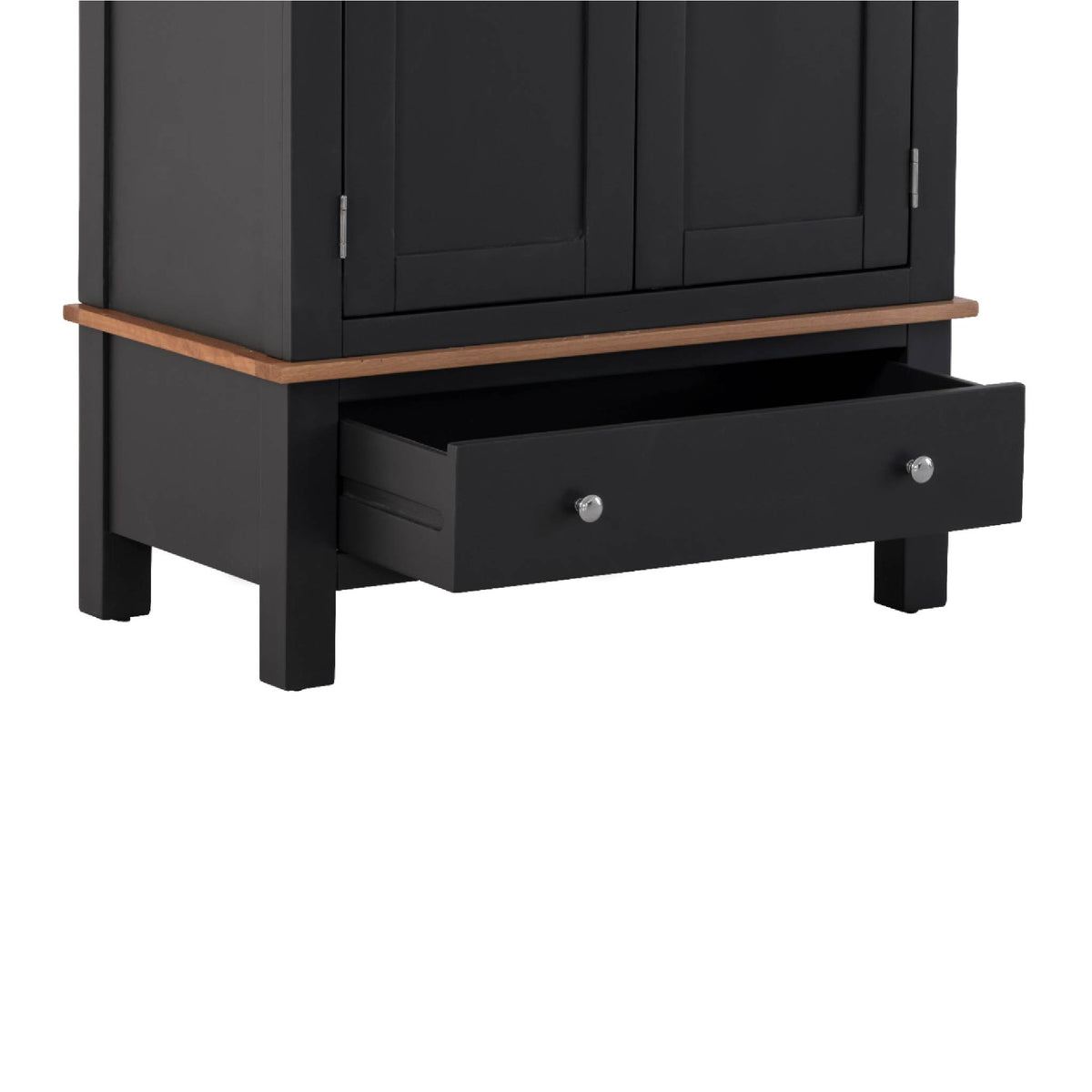 Charlestown Black Double Wardrobe with Drawer  - Drawer Close Up