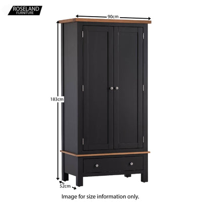 Charlestown Black Double Wardrobe with Drawer - Size Guide