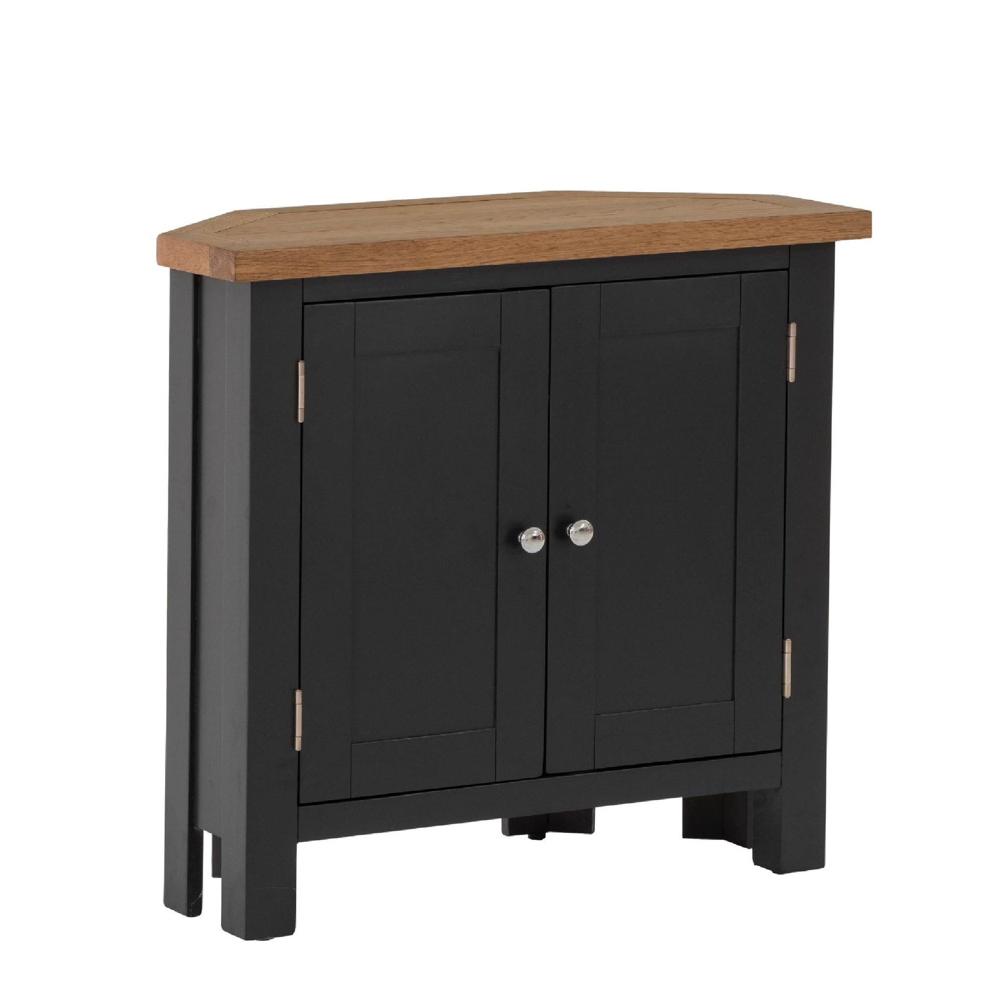 Charlestown Black Corner Cupboard with Oak Top by Roseland Furniture