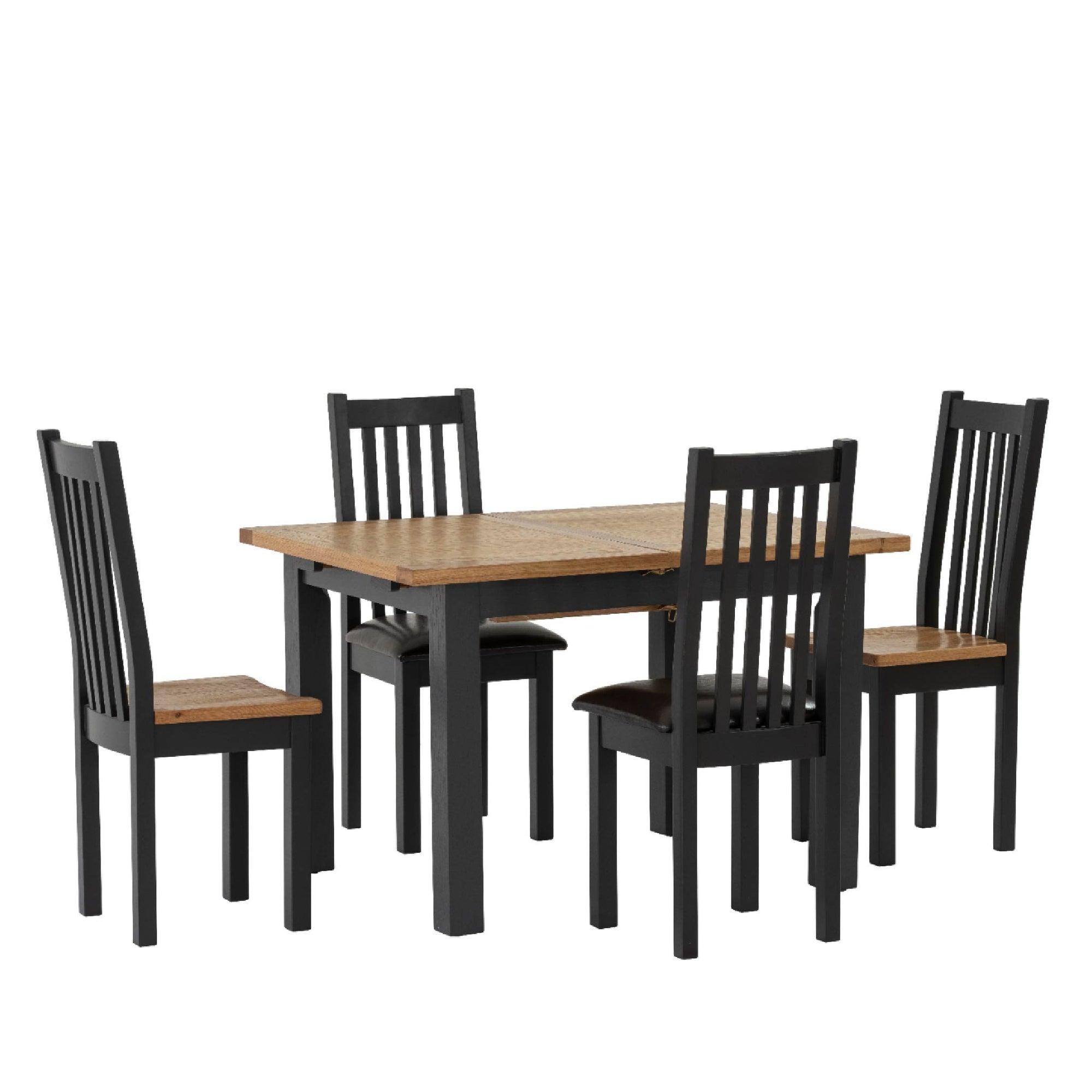 Picture of: Charlestown Black Extendable Dining Table Solid Wood Roseland Furniture