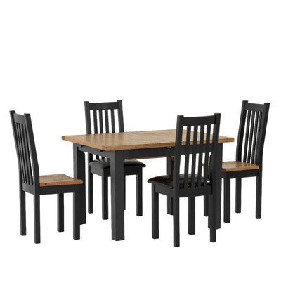 Charlestown Black Extendable Dining Table - With Whole Set of Dining Furniture