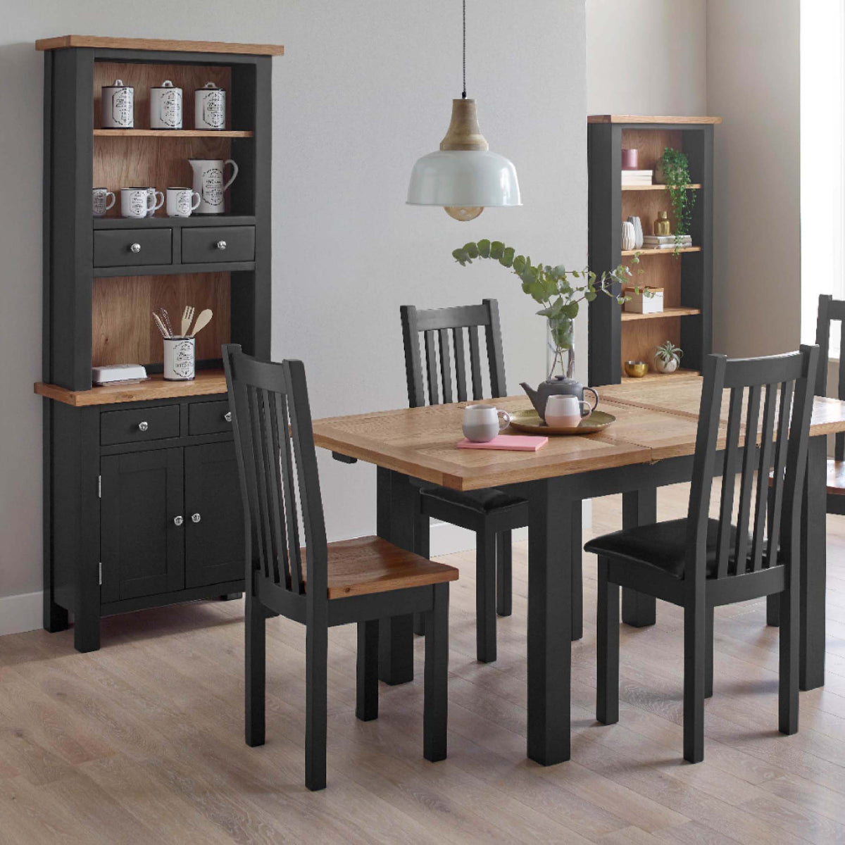 Charlestown Black Extendable Dining Table - Lifestyle View