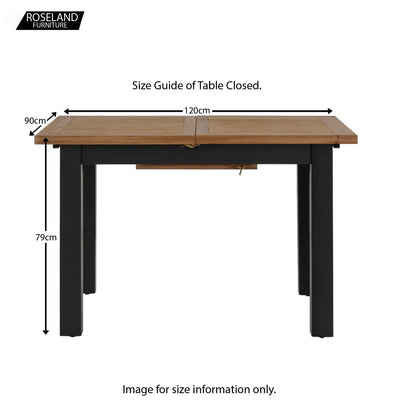 Charlestown Black Extendable Dining Table - Size Guide of Table Closed