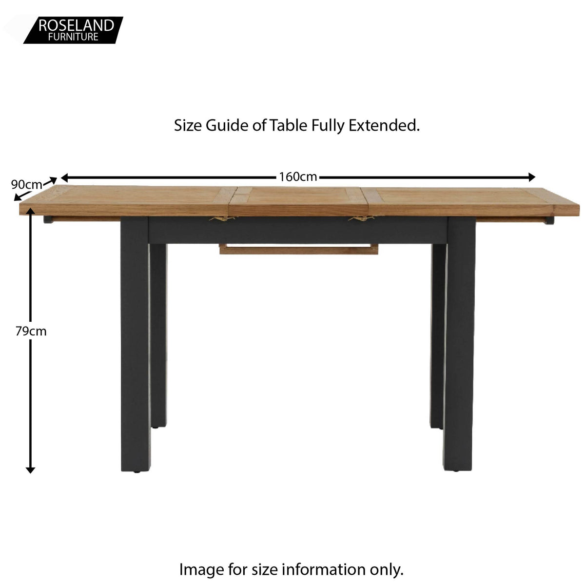 Charlestown Black Extendable Dining Table - Size Guide of Table Fully Extended
