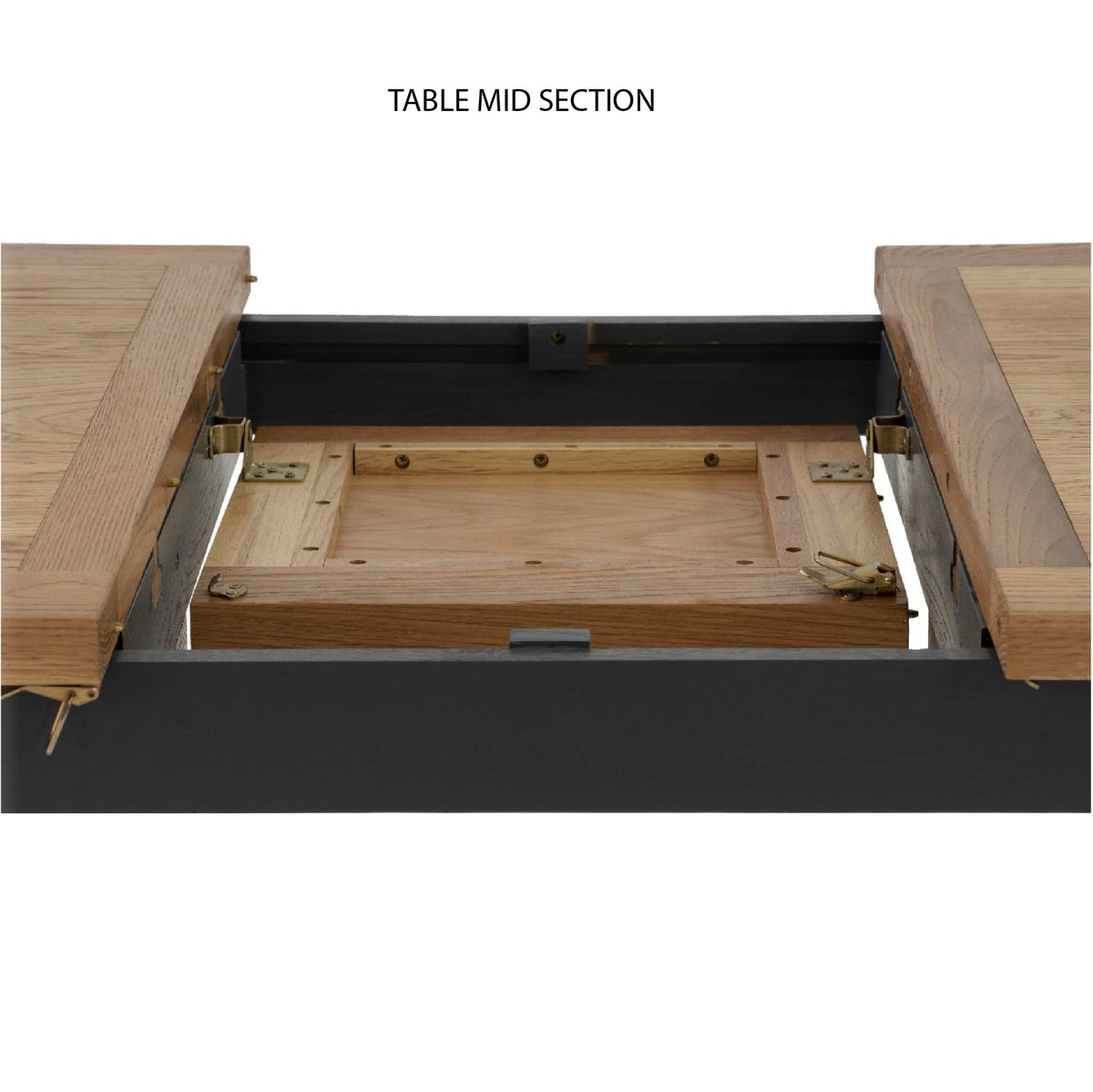 Charlestown Black Extendable Dining Table - Straight on View of Mid Section of Table