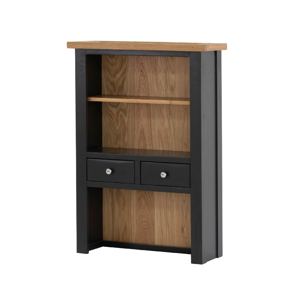 Charlestown Black 2 Drawer Hutch - Angled View