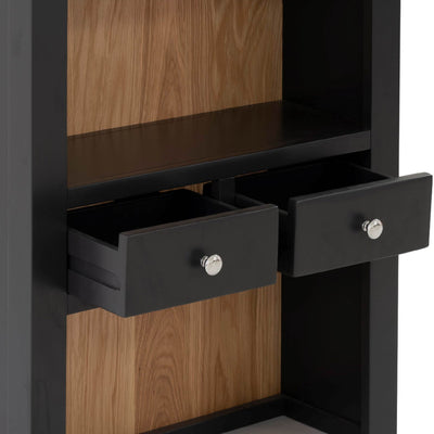 Charlestown Black 2 Drawer Hutch - Close Up of Drawers