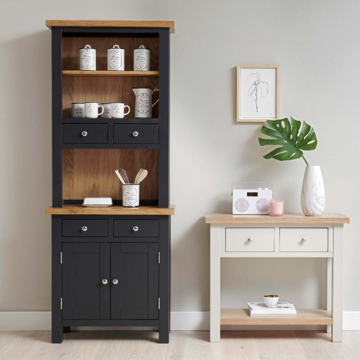 Charlestown Black 2 Drawer Hutch - Add the Sideboard to Create Dresser