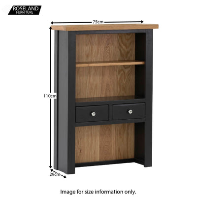 Charlestown Black 2 Drawer Hutch - Size Guide
