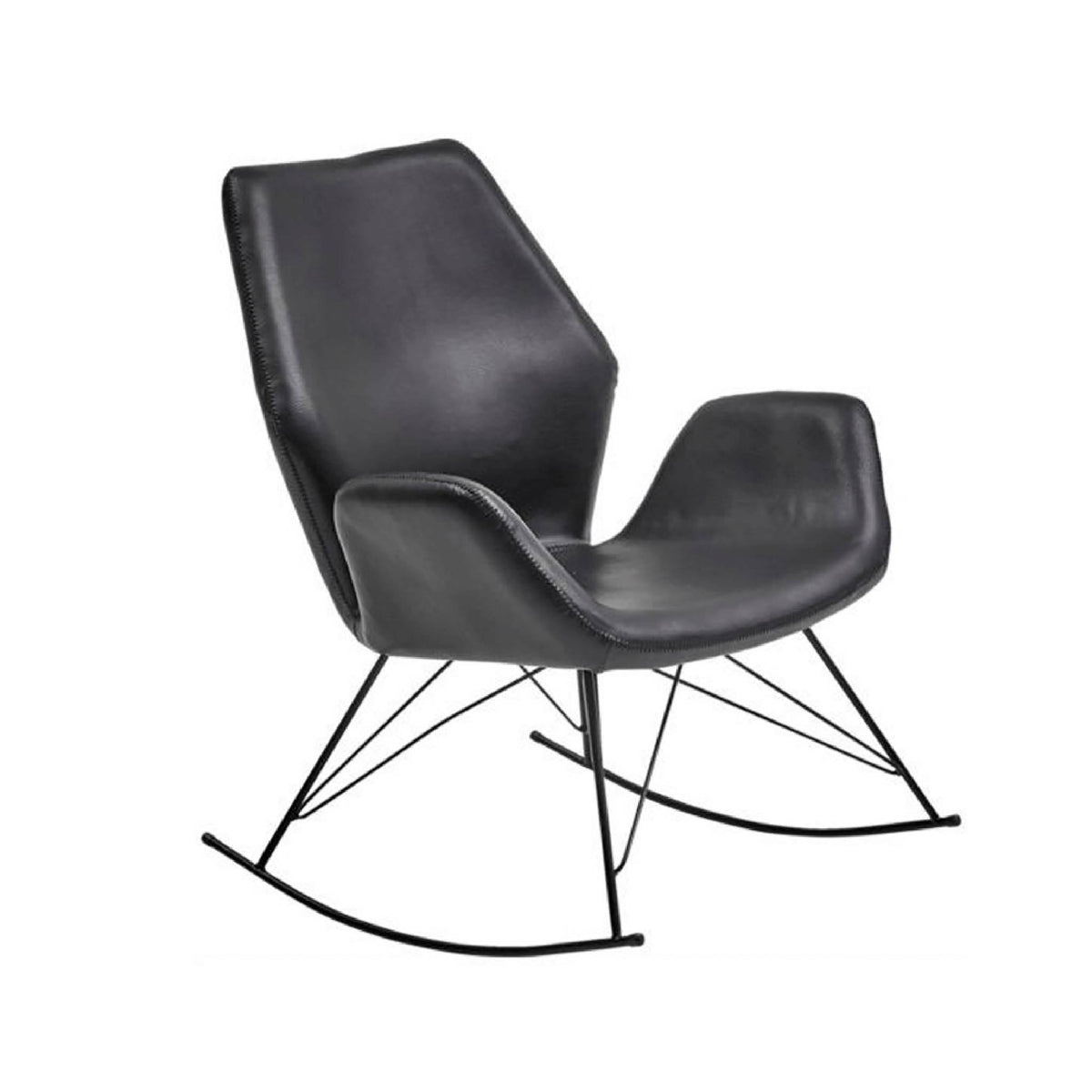 Bryce Accent Rocking Chair - Black Faux Leather