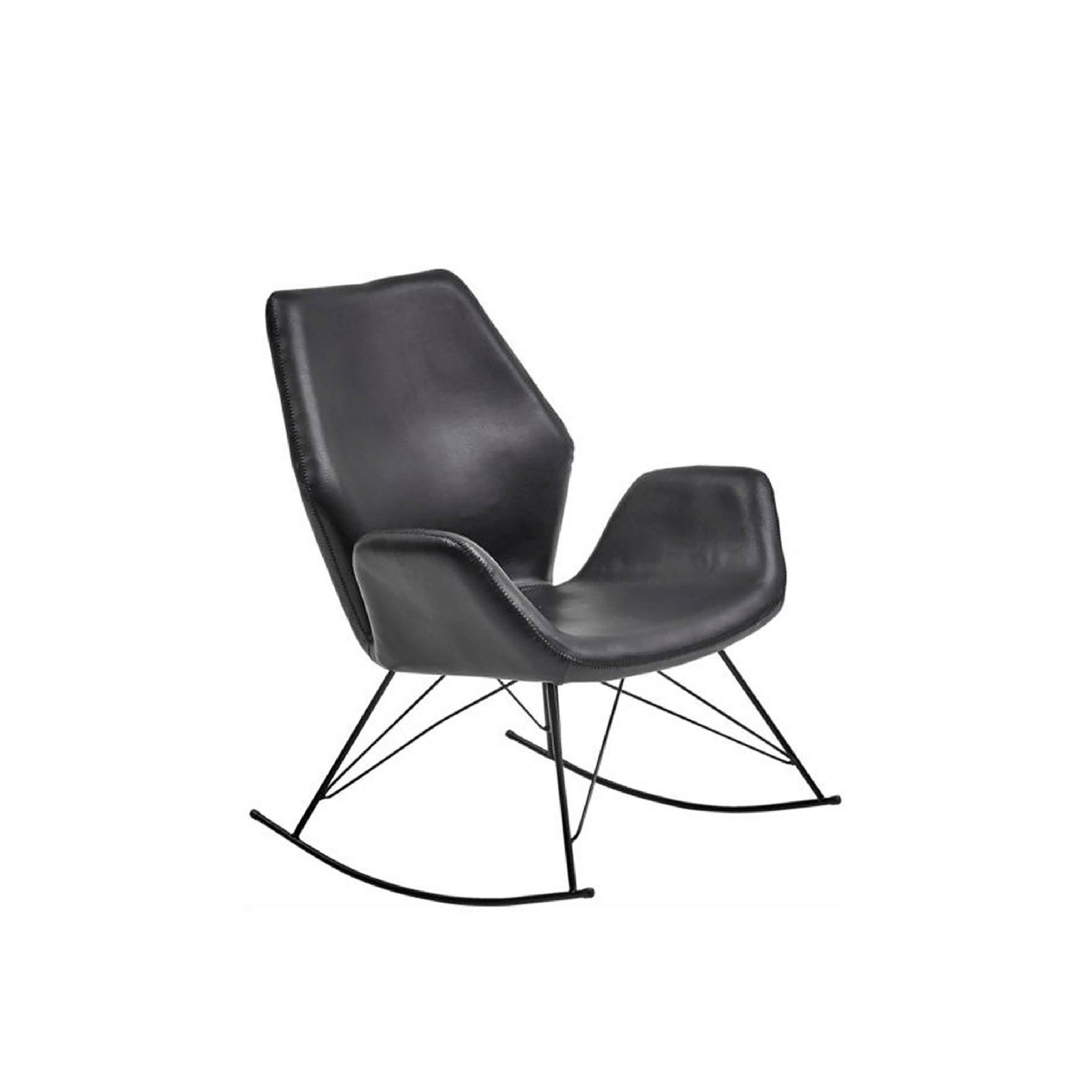 Bryce Accent Rocking Chair - Black  Leather by Roseland Furniture