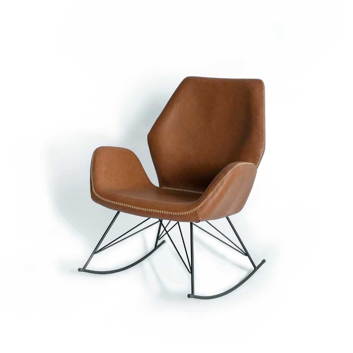 Bryce Brown Faux Leather Rocking Chair - Side view