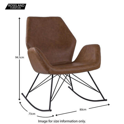 Bryce Brown Faux Leather Chair - Size Guide