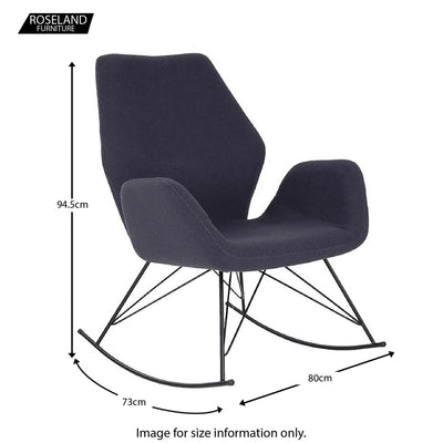 Bryce Sky Blue Rocking Chair - Size Guide