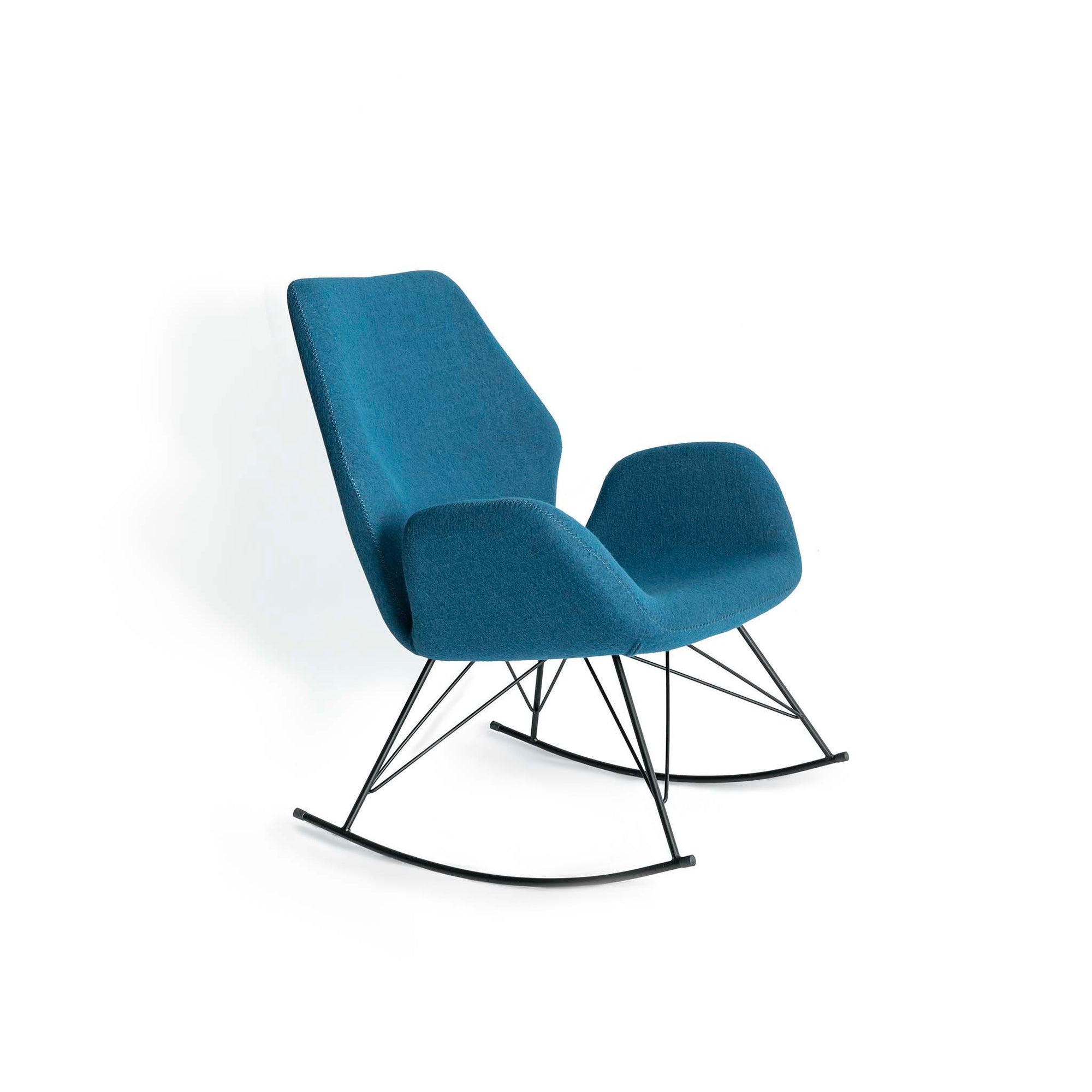 Bryce Petrol Blue Rocking Chair - Side view