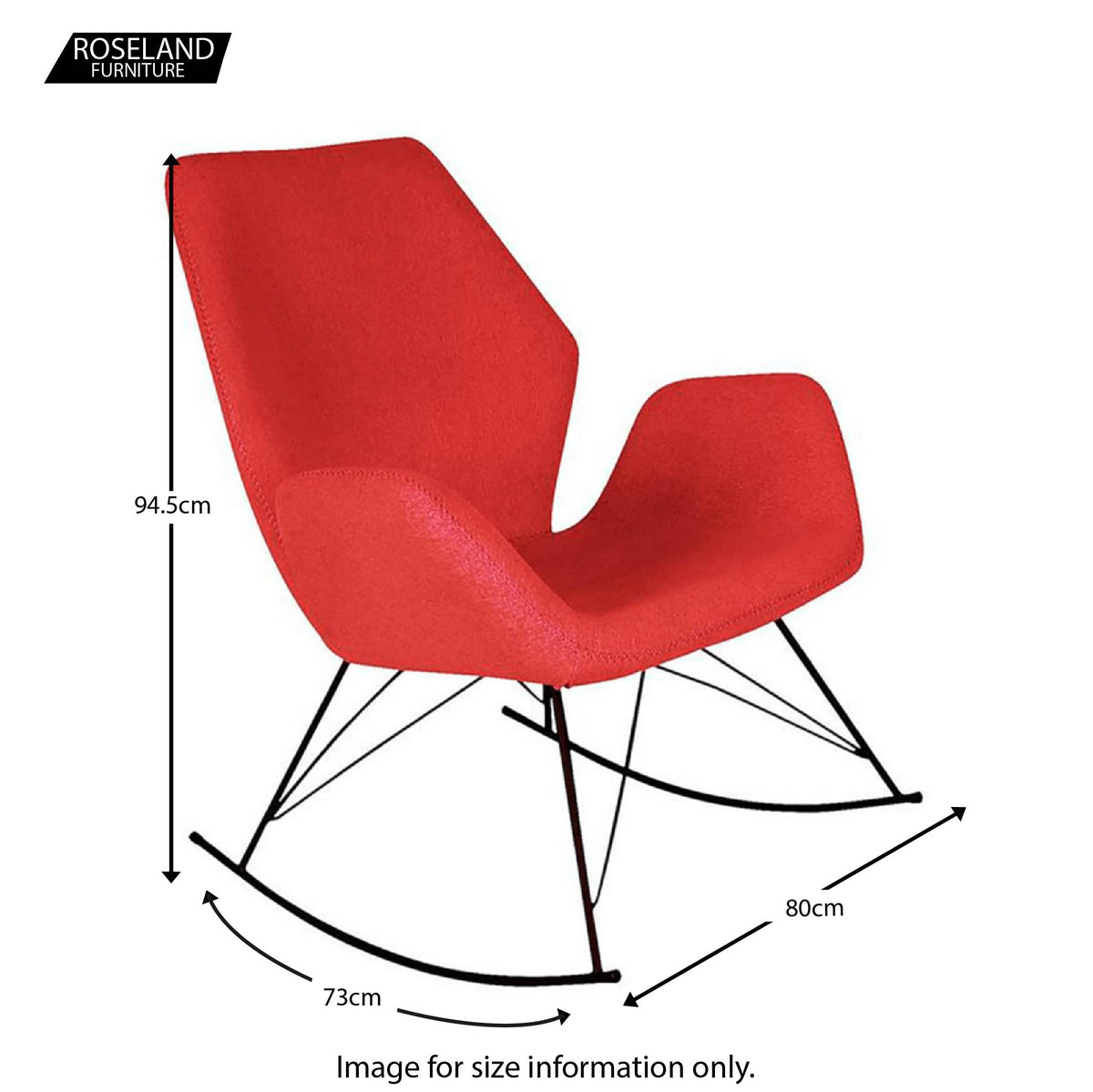 Bryce Red Rocking Chair - Size Guide