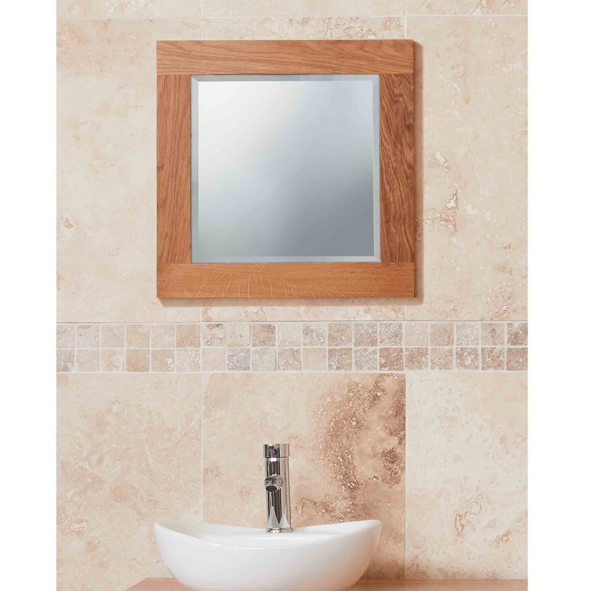 Mobel Oak Bathroom Small Wall Mounted Square Mirror 645x 45cm