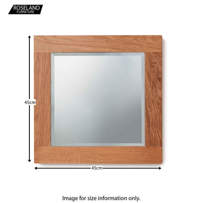 Dimensions for Mobel Oak Bathroom Small Wall Mounted Square Mirror 45 x 45cm