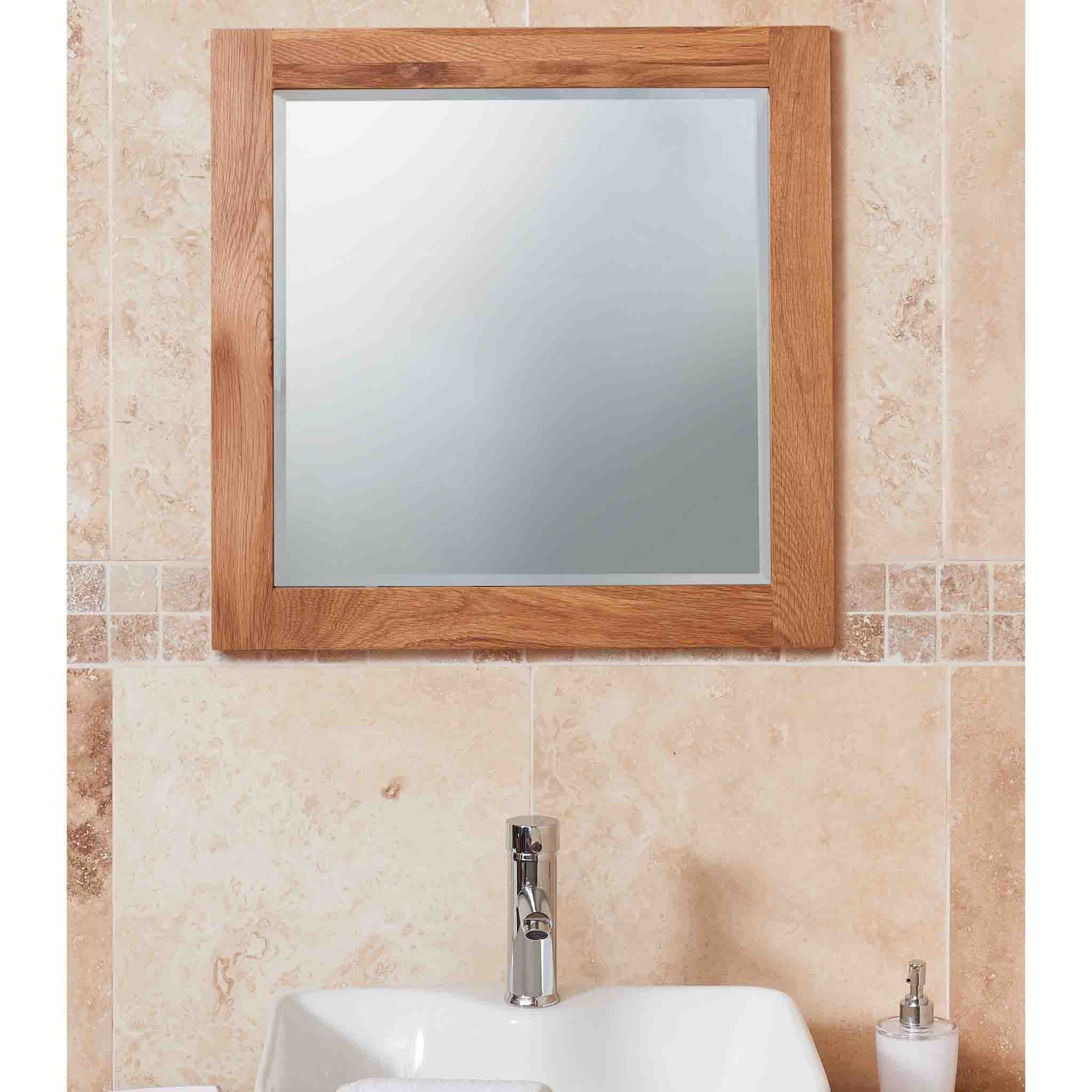 Mobel Oak Bathroom Large Wall Mounted Square Mirror 60 x 60cm