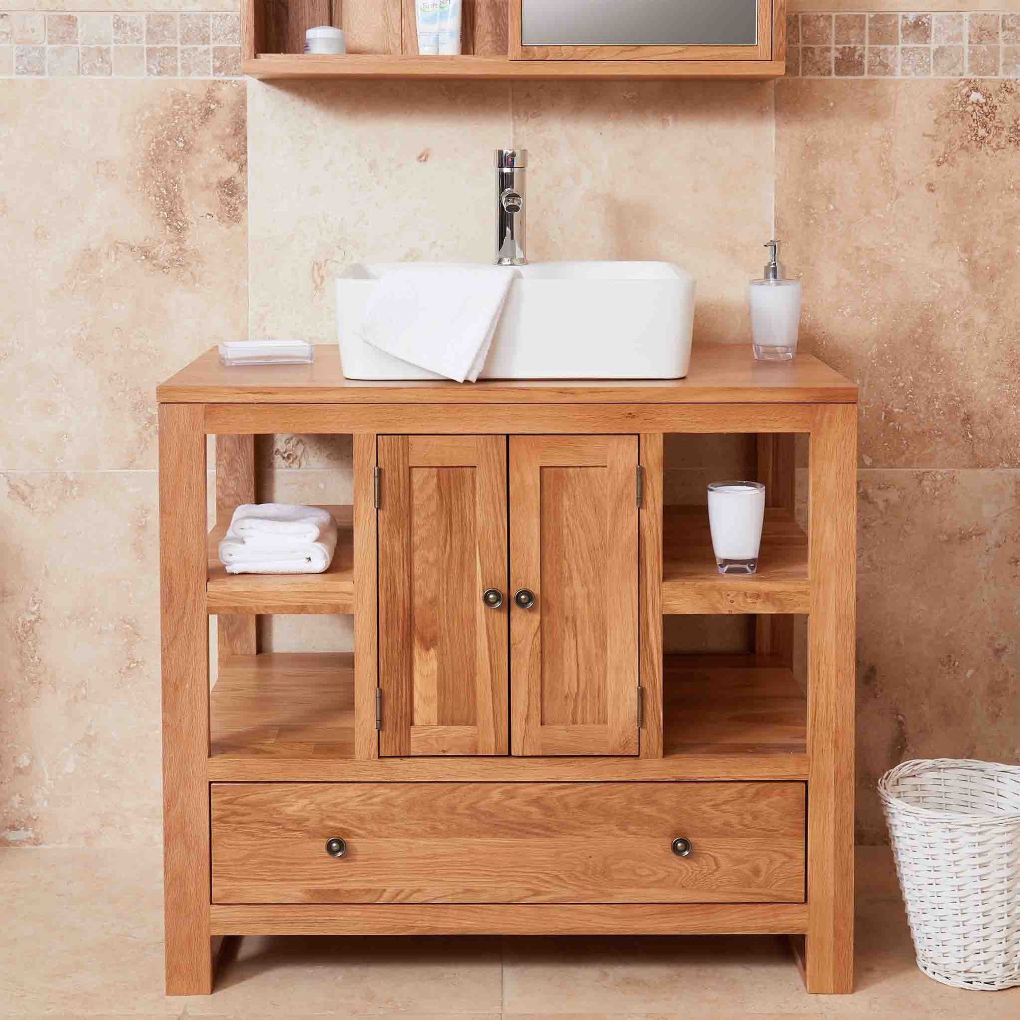 Mobel Oak Bathroom 2 Door Square Sink Unit