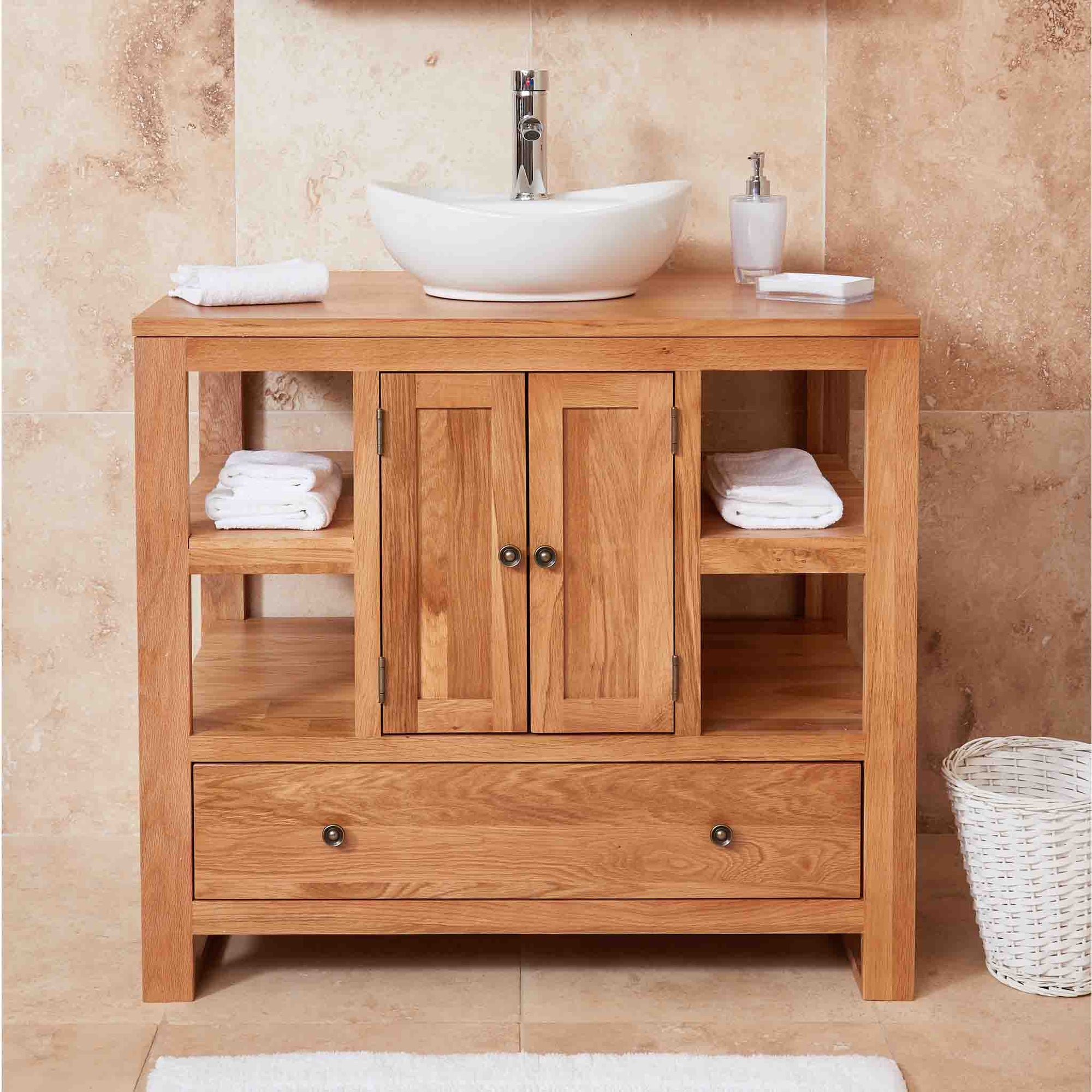 Mobel Oak Bathroom 2-Door Round Sink Unit