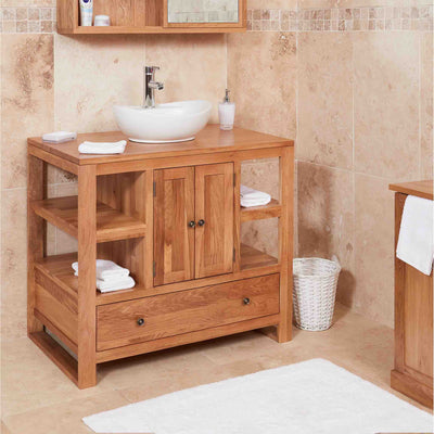 Side View of Mobel Oak Bathroom 2-Door Round Sink Unit