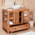 Open Drawer view of Mobel Oak Bathroom 2-Door Single Round Sink Unit