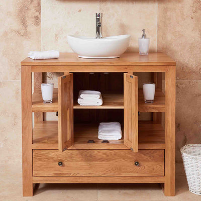 Open cupboard view of Mobel Oak Bathroom 2-Door Round Sink Unit