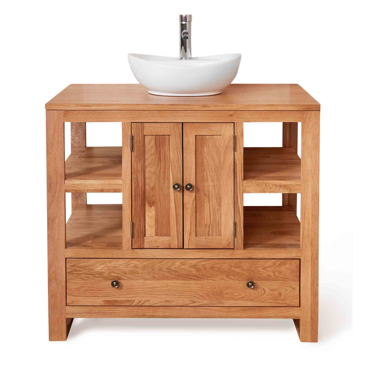 Mobel Oak Bathroom 2-Door Round Sink Unit with Drawer