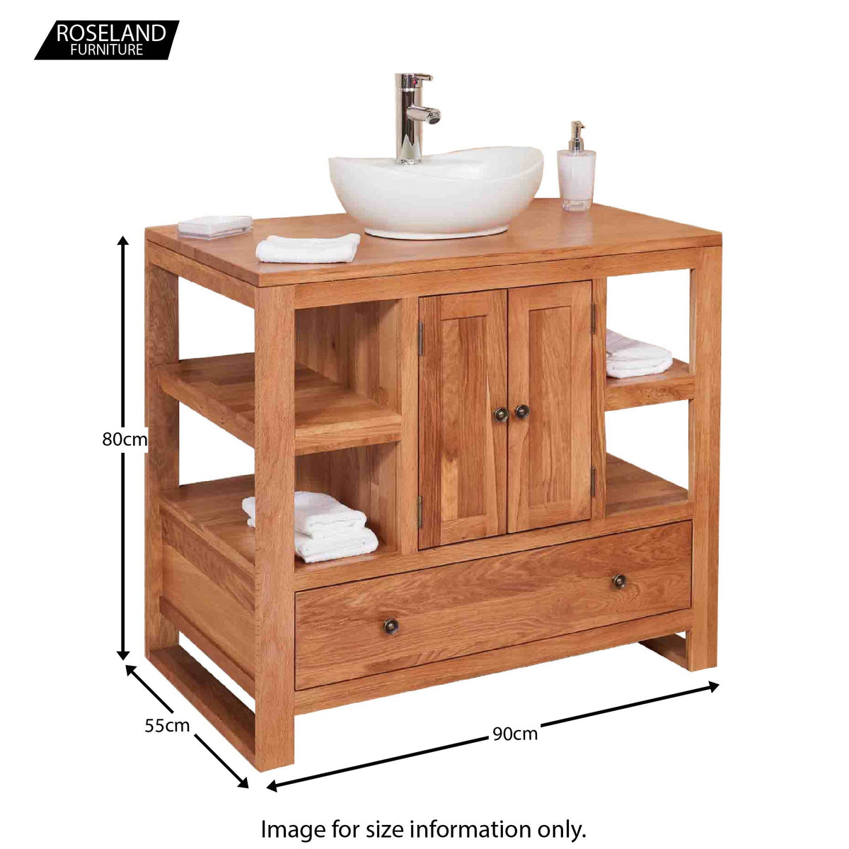 Mobel Oak Bathroom 2-Door Round Sink Unit 80  x 90 x 55  cm