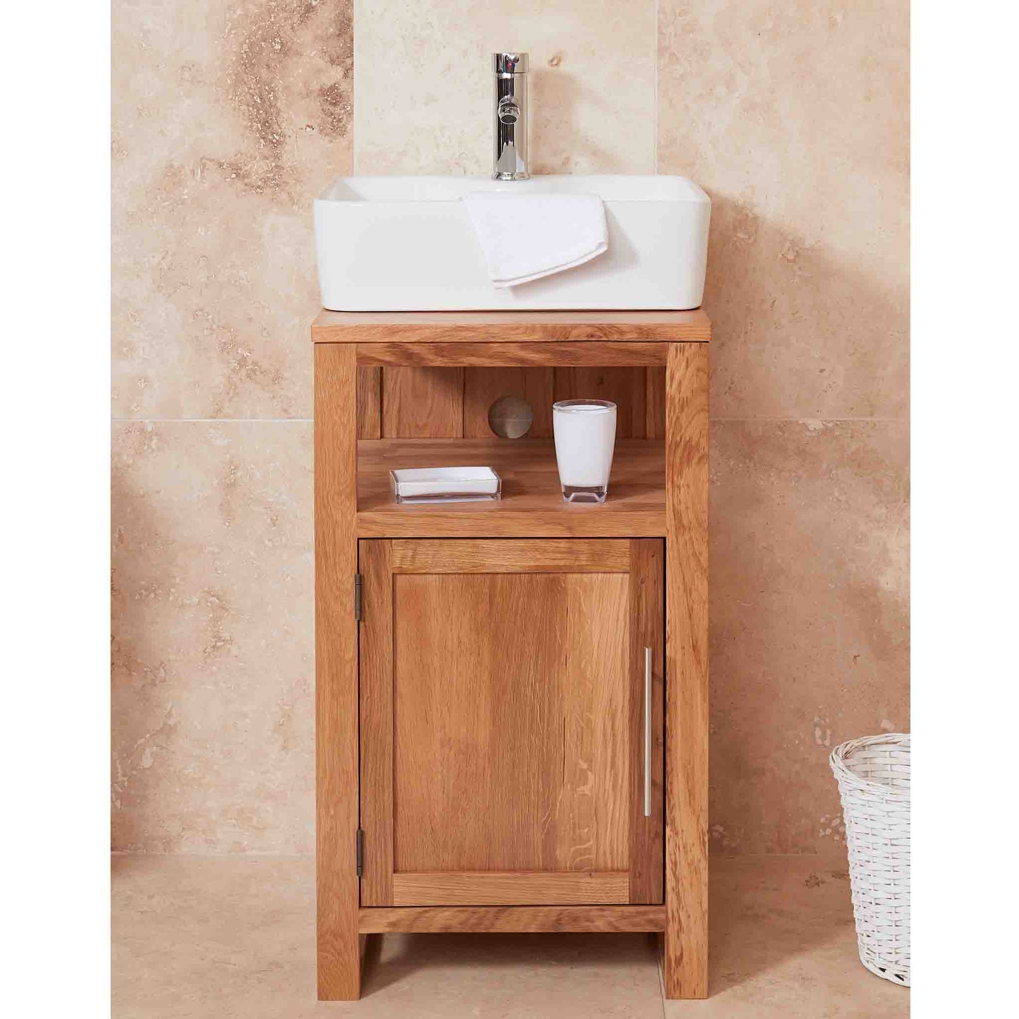 Mobel Oak Bathroom 1-Door Square Sink Unit