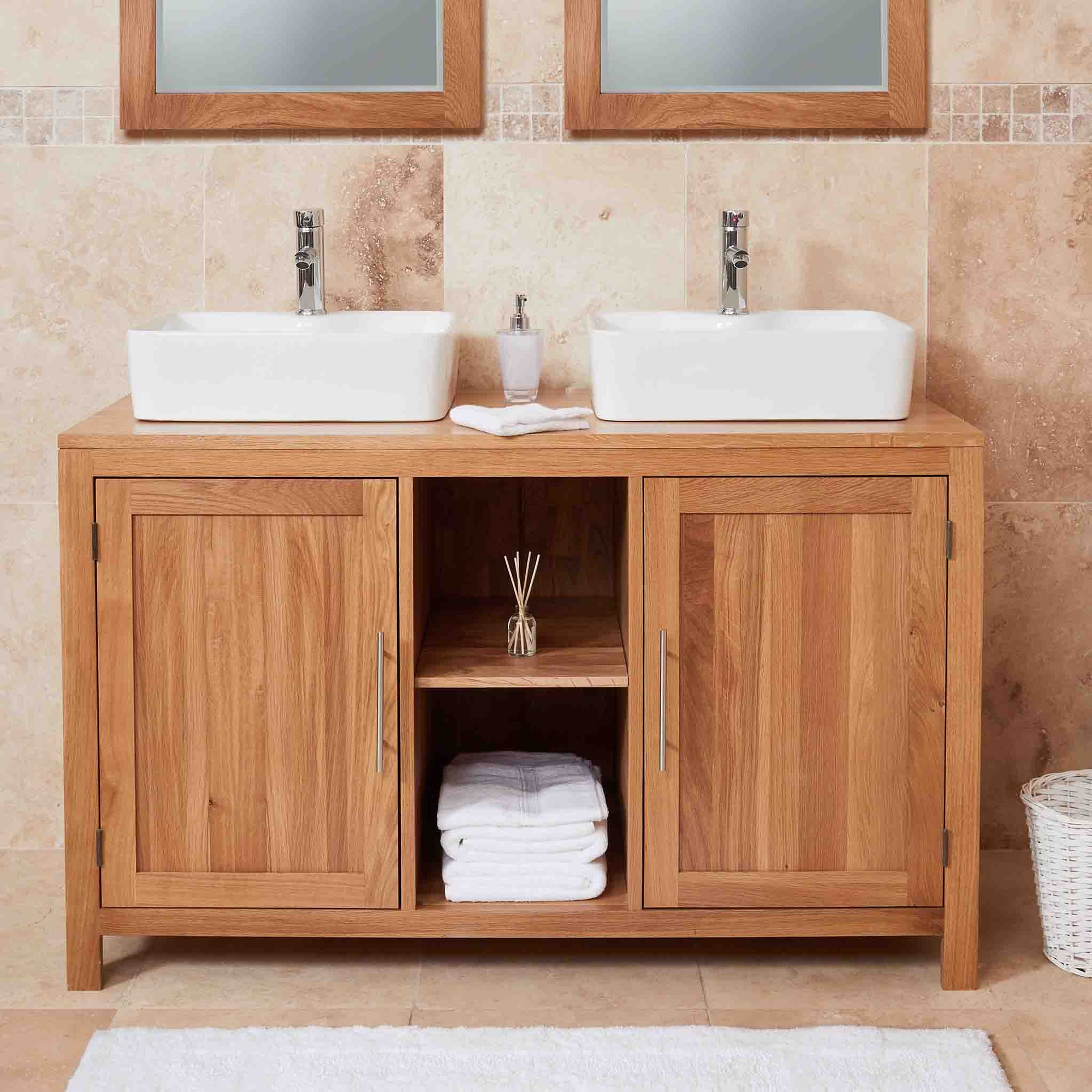 Mobel Oak Bathroom Dual Square Sink Cabinet Unit