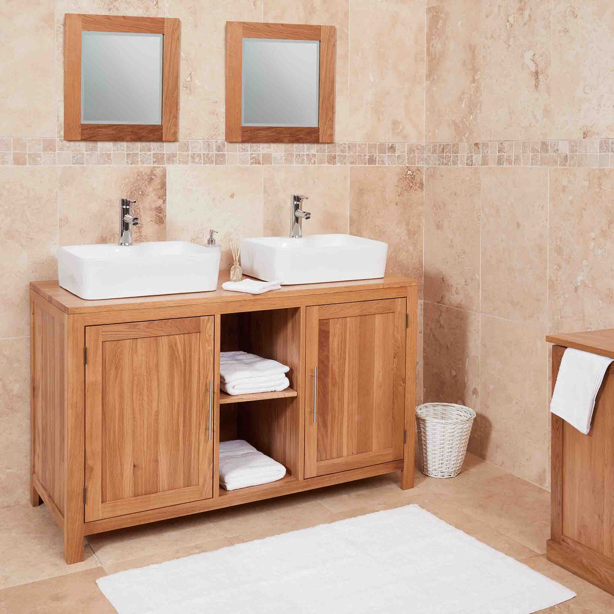 Mobel Oak Bathroom Dual Square Sink Cabinet Unit with 2 Large Cupboard