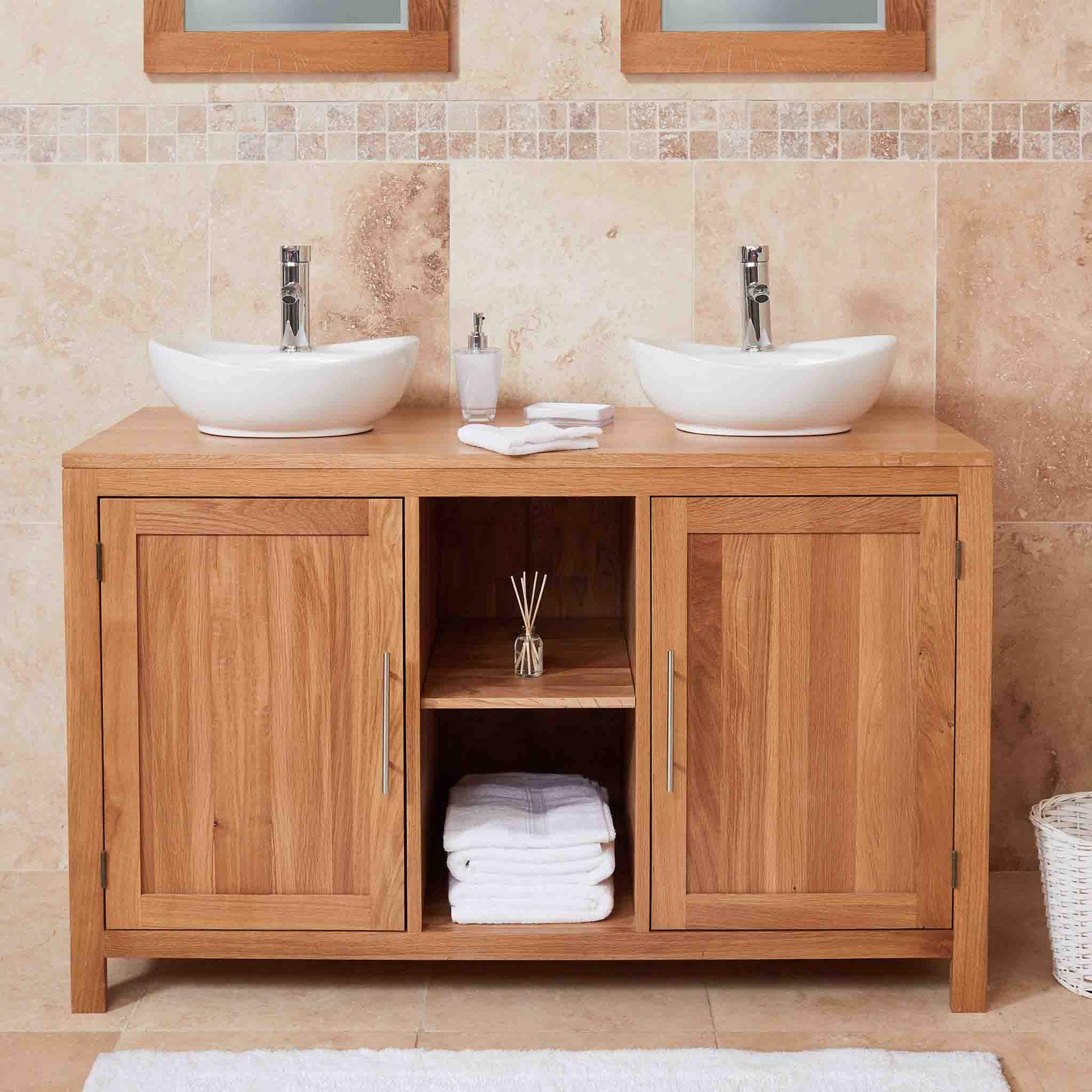 Mobel Oak Bathroom Dual Round Sink unit on white backgroud