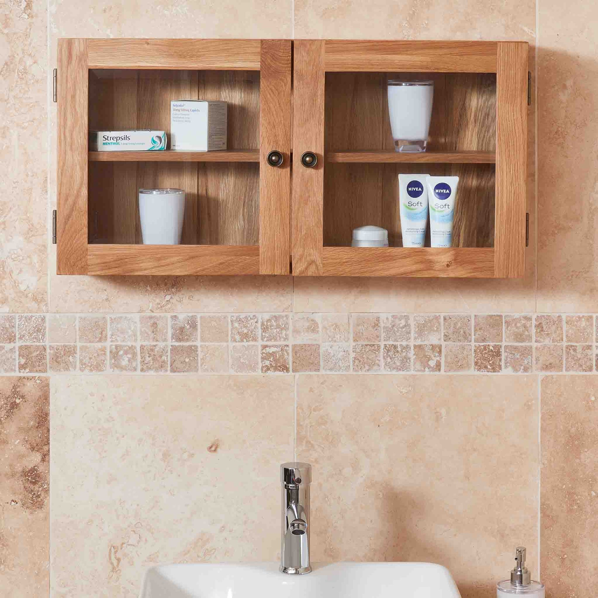Mobel Bathroom 100% Solid Oak Glass Double Door Wall Cabinet